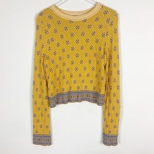 Free People New Age Crew Neck Sweater Yellow Crop